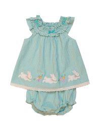 Good Lad Toddler Thru 4//6X Girls Turquoise Seersucker Easter Dress with Bunny Applique