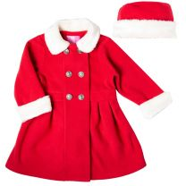 Good Lad 2//6X Girls Double Breasted Fleece Coat with Velvet Trim Collar and Matching Hat