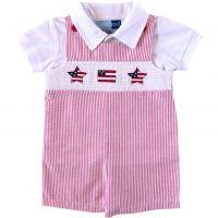 3de337c2dba3b Infant Boys Red Seersucker July 4th Smocked Shortall Set