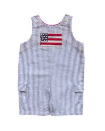 Infant Boys Blue Seersucker Shortall With Flag Applique
