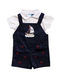 Navy Shortall Set With Nautical Appliques and Embroidery
