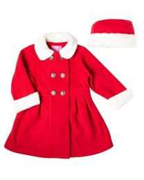 Infant Girl Red Double Breasted Fleece Coat with White Fur Trim on Collars and Cuffs and Matching Hat