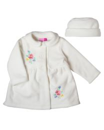Newborn/Infant Creme Fleece Coat with Floral Embroidery and Matching Hat