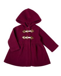 Infant Burgundy Hooded Fleece Coat with Toggles