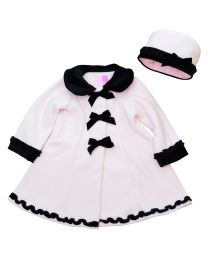 Toddler thru 4/6X Girls Pink Fleece Coat with Black Velvet Collar, Cuffs, Trim and Matching Hat