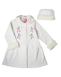 Toddler thru 4/6X Creme Fleece Coat with Floral Embroidery and Matching Hat