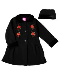 Toddler thru 4/6X Black Fleece Coat with Floral Embroidery and Matching Hat