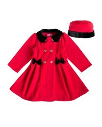 Red Double Breasted Bow Coat with Gold Buttons, Velvet Collar and matching Hat