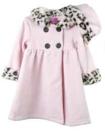 Infant Girls Pink Double Breasted Fleece Coat with Fur Trim and Matching Hat
