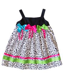 Cotton Black/White Leopard Print Sundress with 3 Neon Bows