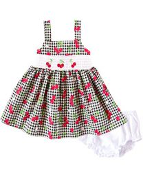 Infant  Black and White Gingham Cherry Print Cotton Smocked Dress