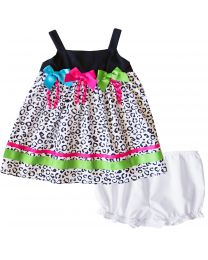 Cotton Black/White Leopard Print Sundress with 3 Neon Bows and Bloomer