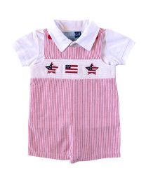 Infant Boys  Red Seersucker July 4th Smocked  Shortall Set