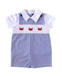 Infant Boys Blue Seersucker Smocked Shortall Set