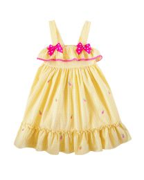 Infant  Yellow Seersucker Dress With Pineapple embroideries