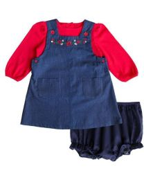 Infant Denim Jumper Set with Floral Embroidery and Panty