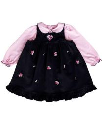 Toddler Navy Jumper Set with Floral Embroideries and Pink Knit Top with Peter Pan Collar