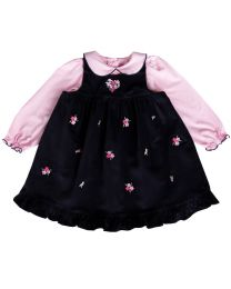Newborn Navy Corduroy Floral Embroidered Jumper Set with Pink Knit Top
