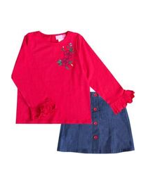 Jean Skirt Set with Red Knit Top