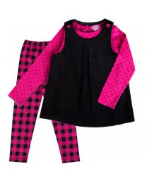 Black Corduroy A-Line Jumper with Flannel Legging and Knit Top