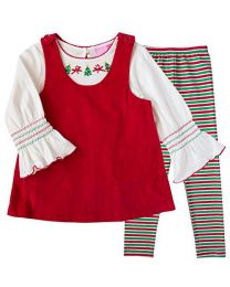 Three Piece Red Christmas Jumper Set with Stripe Leggings