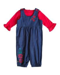 Denim Overall Set with Floral Embroidery