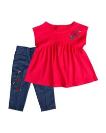 Infant  Denim Two Piece Pant Set with Red Knit Top
