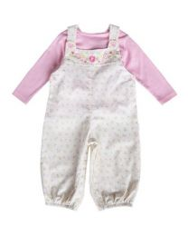 Newborn Creme Floral Print with Embroidery Corduroy Overall Set