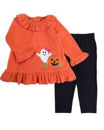 Infant Orange Fleece Halloween Appliqued Legging Set with Brown Knit Legging