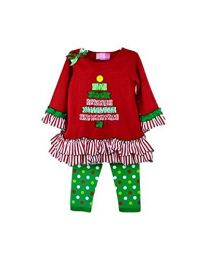 Christmas Tree Legging Set Red & Green Knit