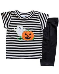 Toddler Two Piece Black and White Knit Top  Halloween Appliqued Top and Pant