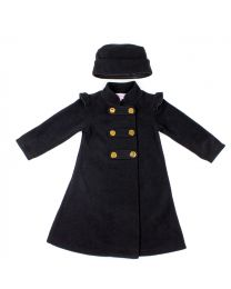 Black Military Fleece Coat with Matching Hat