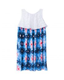 Lace Top with Blue Aztec Print Sundress