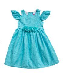 2/6X Girls Turquoise Eyelet Dress