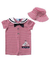Newborn/Infants Onepiece Red and White Knit Nautical Onepiece with Matching Bucket Hat