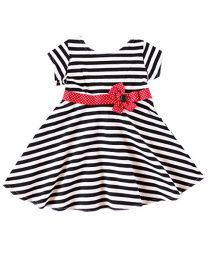 Infant Black and White Stripe Knit Dress
