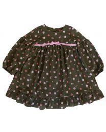 Infant Girls Green Chiffon Floral Print Dress