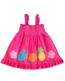 Infant Girls Pink Gauze Sundress with Summer Themed Appliques