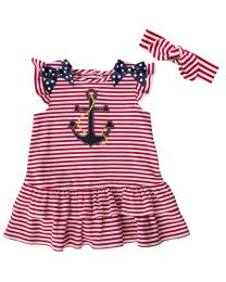 2/6X  Red Knit Dress with Anchor Applique, and Legging