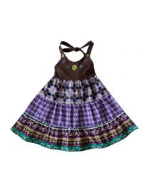 Infant Girls Aztec Print Halter Top Cotton Sundress with Floral Embroidery