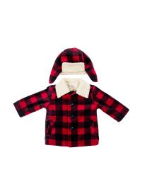 2/7 Boys Sherpa lined fleece coats withSherpa trim  collar and matching hat