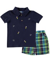 Infant Boys Short Set-Navy Polo with Golf Embroideries and Green and Navy Plaid Short