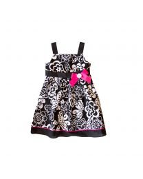 Black/White Floral Print Sundress with Bow