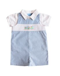 Newborn Boys Seersucker Smocked Shortall Sets with Emborideries