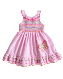 2/6X Girls Pink Seersucker Sundress With Smocked Yoke and Butterfly Applique