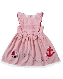 Infant Girls Red Seersucker Sleeveless Dress with Nautical Appliques