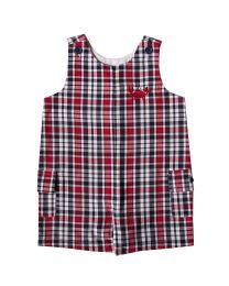 Infant Boys Red and Navy Plaid Shortall with Crab Crest Embroidery