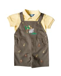 Infant Boys 2 Piece Overall Set - Olive Overall With Safari Animal Applique With Yellow Polo Shirt