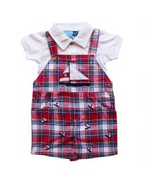 Infant  Red and Navy Plaid Shortall Set with Natucial Applique and Embroideries
