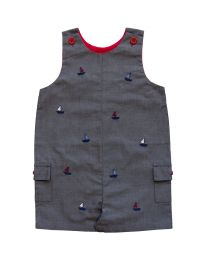 Newborn  Chambray Shortall with Sailboat Embroideries